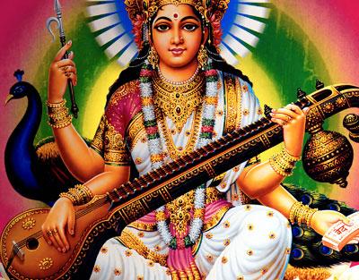 Saraswati, the Hindu goddess of knowledge, music, art, wisdom, and learning